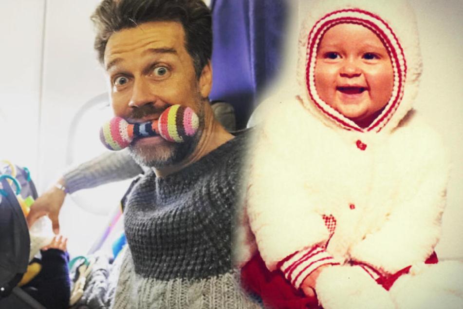 Wayne Carpendale heute (l.) und damals als Baby (r.). (Bildmontage)