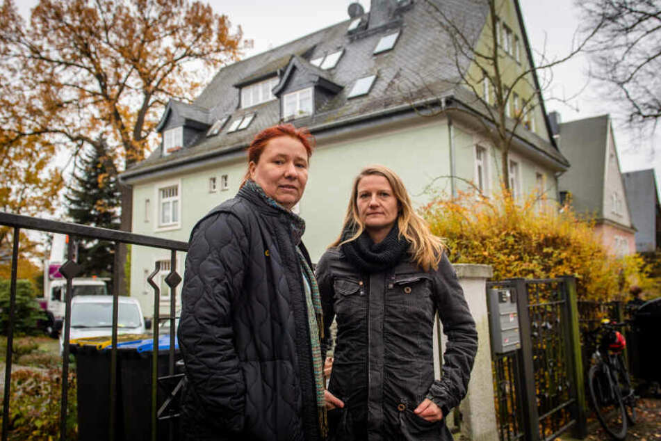 Sie protestierten gegen die Fällung der Eiche: die Grünen-Politikerinnen Kathleen Kuhfuß (39, l.) und Christin Furtenbacher (34).