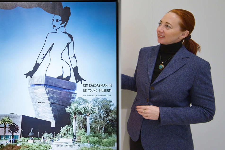 Schloss-Herrin Partizia Meyn (46) ist mit der beendeten Scherenschnitt-Ausstellung zufrieden (Bildmontage).
