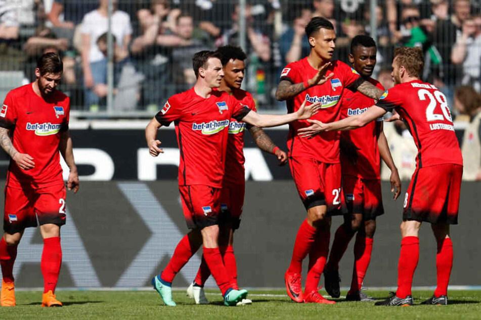 Davie Selke (3.v.r), Salomon Kalou (2.v.r) und Fabian Lustenberger (r) bejubeln das 0:1 gegen Mönchengladbach.