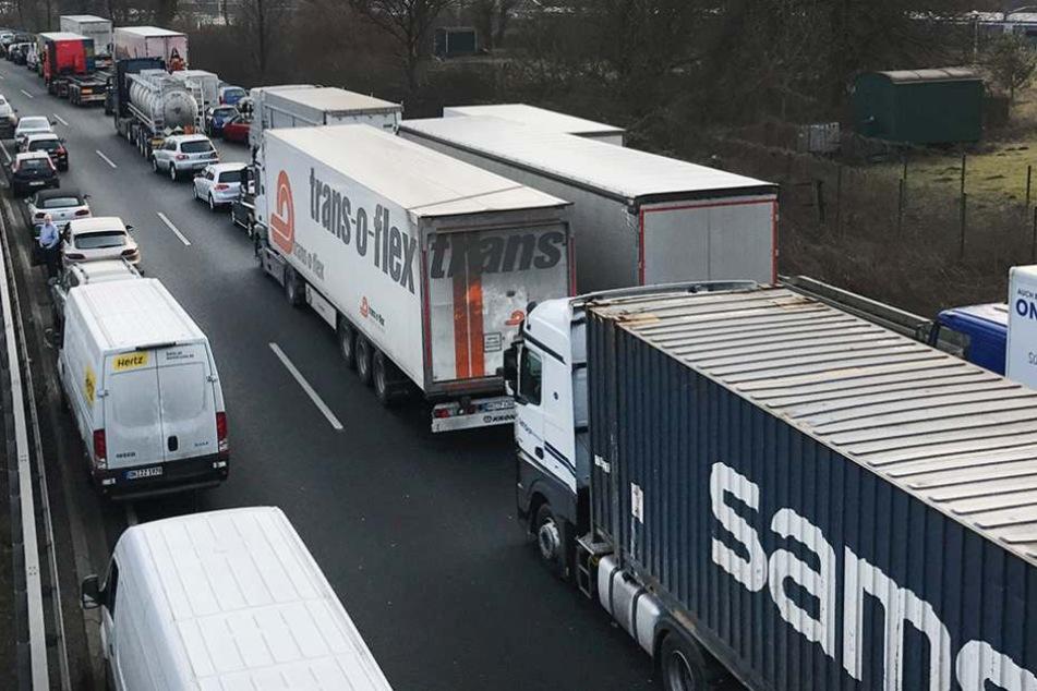 Unfall A12: Laster kracht in Stauende, Fahrer eingeklemmt
