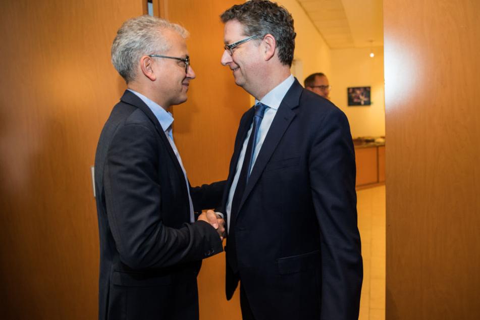 Tarek Al-Wazir (Li.) und Thorsten Schäfer-Gümbel könnten bald die Spitze der hessischen Regierung bilden.