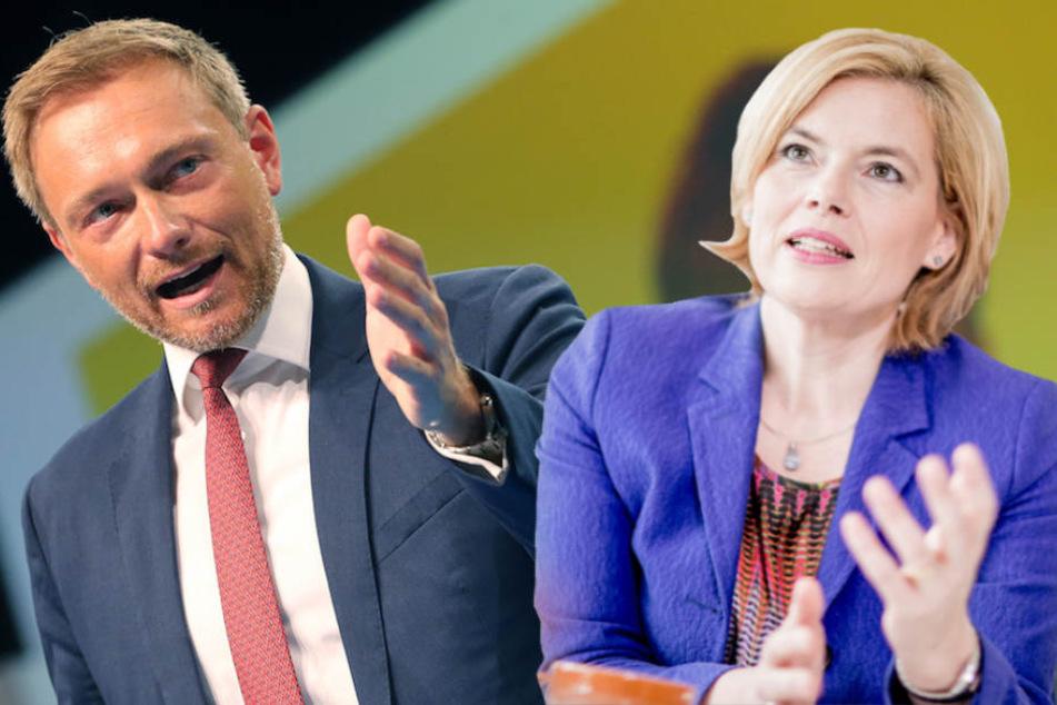 CDU-Vize Julia Klöckner (45) stellt sich hinter FDP-Chef Christian Lindner (39). (Bildmontage)