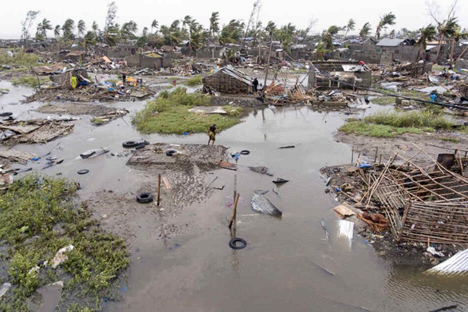 Eine Luftaufnahme zeigt die verheerende Zerstörung in Mosambik.