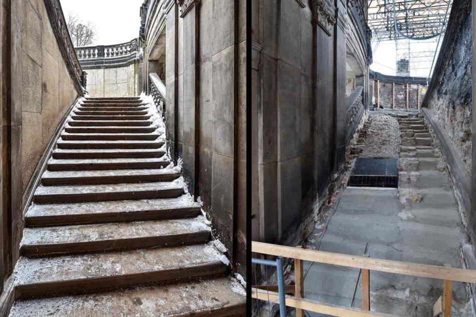 Links im Bild: Die bereits abgerissene und wieder neu errichtete Treppe. An den Stufen im rechten Bild wird noch gewerkelt.