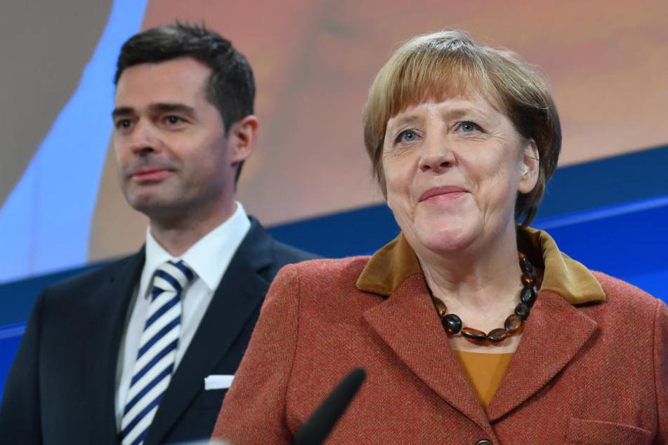 CDU-Vorsitzende und Bundeskanzlerin Angela Merkel mit dem Thüringer CDU-Landeschef Mike Mohring (Archivfoto).