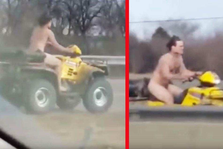 Nackter Geisterfahrer liefert sich Verfolgungsjagd mit der Polizei
