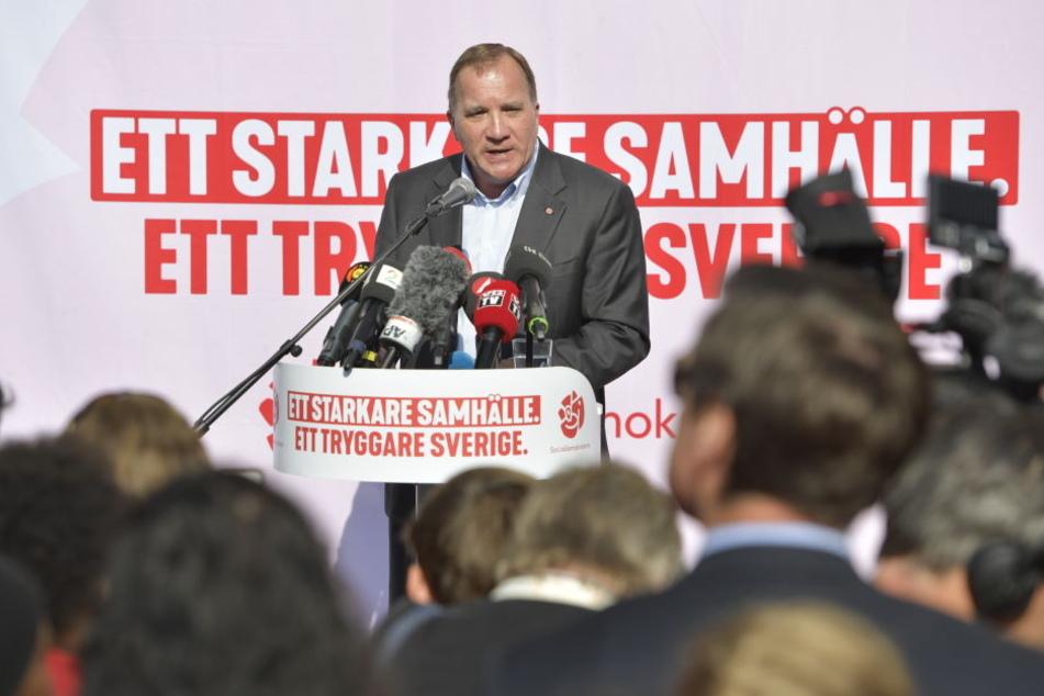 Stefan Löfven, Ministerpräsident Schwedens und Vorsitzender der Sozialdemokratischen Partei beim Wahlkampf.
