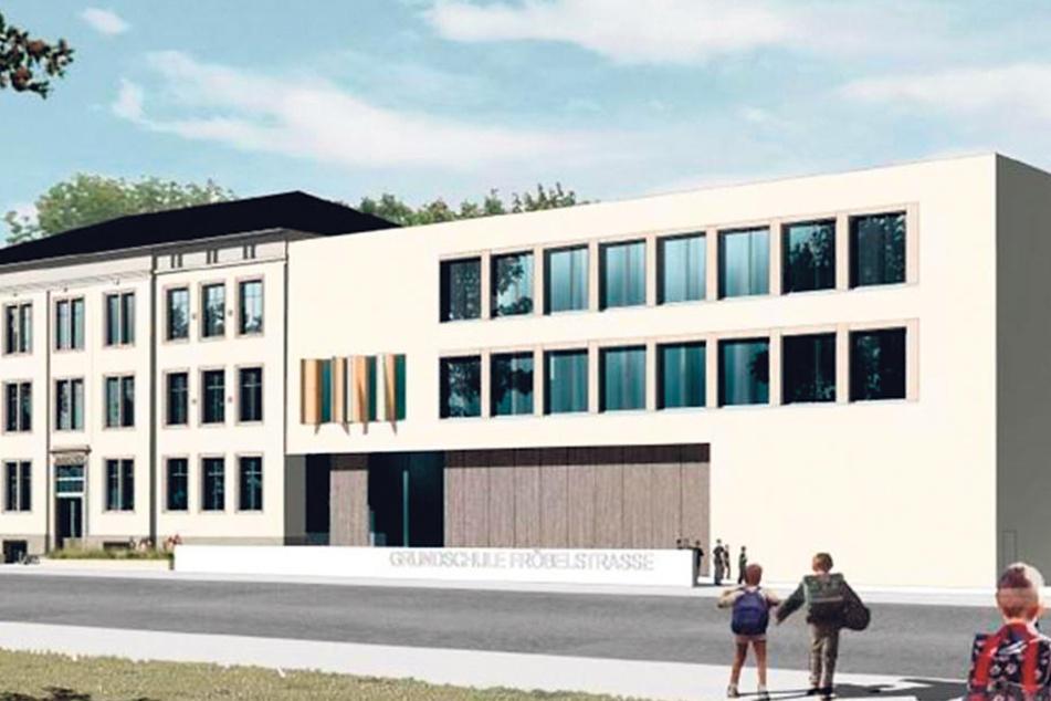 So soll der Erweiterungsbau neben der sanierten 153. Grundschule in der  Friedrichstadt künftig aussehen.