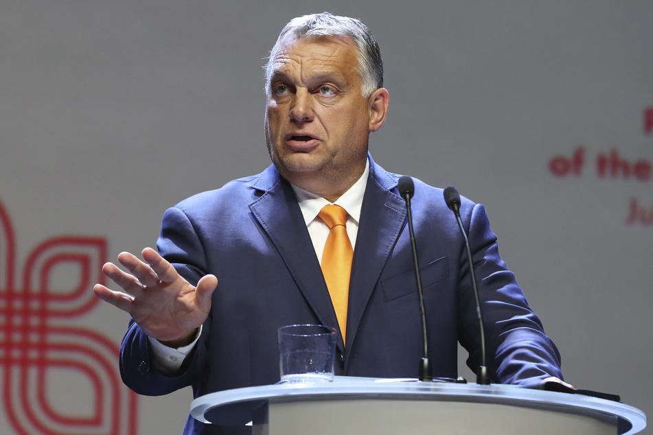 Viktor Orban, Ministerpräsident von Ungarn, spricht während einer Pressekonferenz.