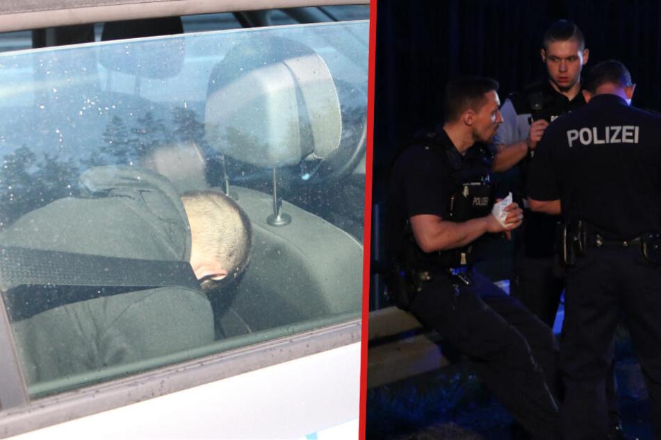 Bei der Verfolgungsjagd wurden die Insassen des Fluchtwagens und vier Polizisten verletzt. (Bildmontage)