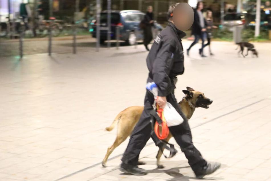 Auch ein Polizeihund war im Einsatz.