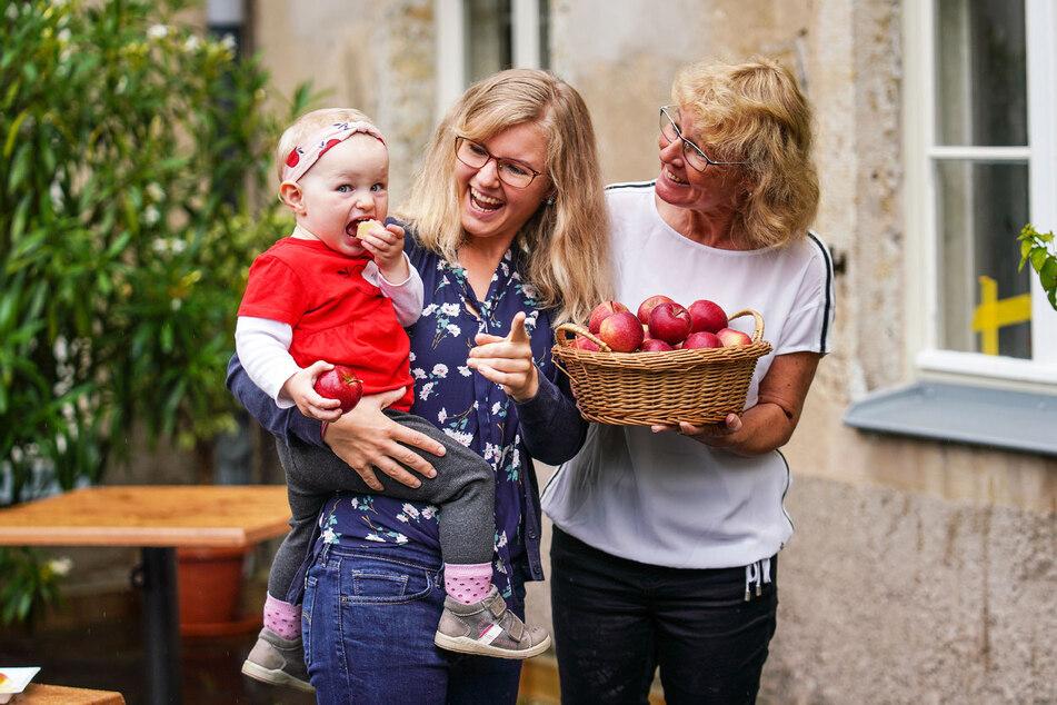"""Jade Kay (25) mit Sonja (1) und Oma Anja (54). Die kleine Sonja ist die Enkelin von Udo Jentzsch, Chef des Landesverbands Sächsisches Obst. Alle drei schwören auf die neue Apfelsorte """"Kanzi"""" - am liebsten frisch zum Abbeißen."""