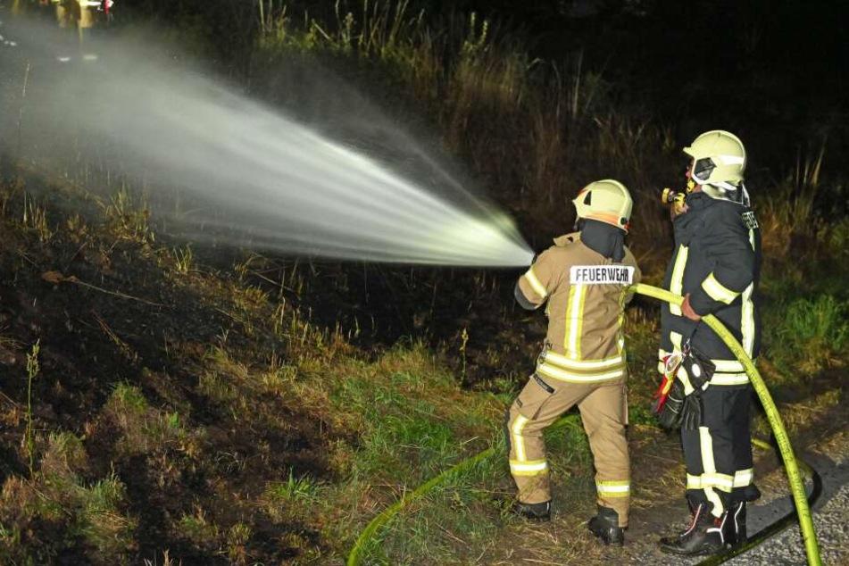 Feuerwehrleute löschten Freitagnacht einen Böschungsbrand in Bautzen.