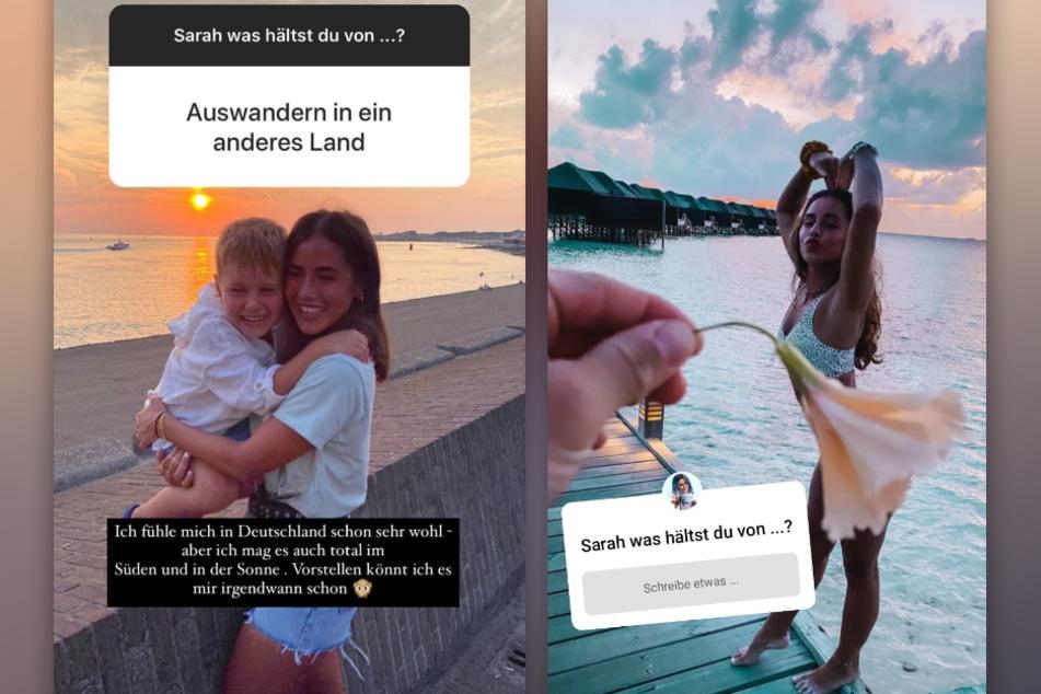 Sarah Lombardi (27) wurde auf Instagram gefragt, wie sie zum Thema Auswandern steht. (Fotomontage)