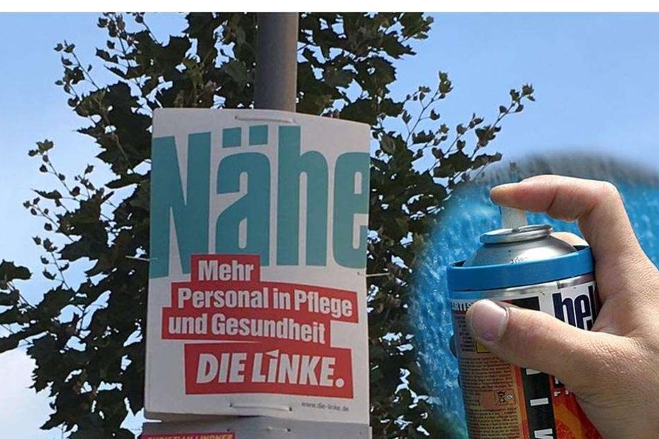 Unbekannte haben Wahlplakate der Linken in Belgern-Schildau bei Torgau mit Hakenkreuzen beschmiert (Symbolbild).