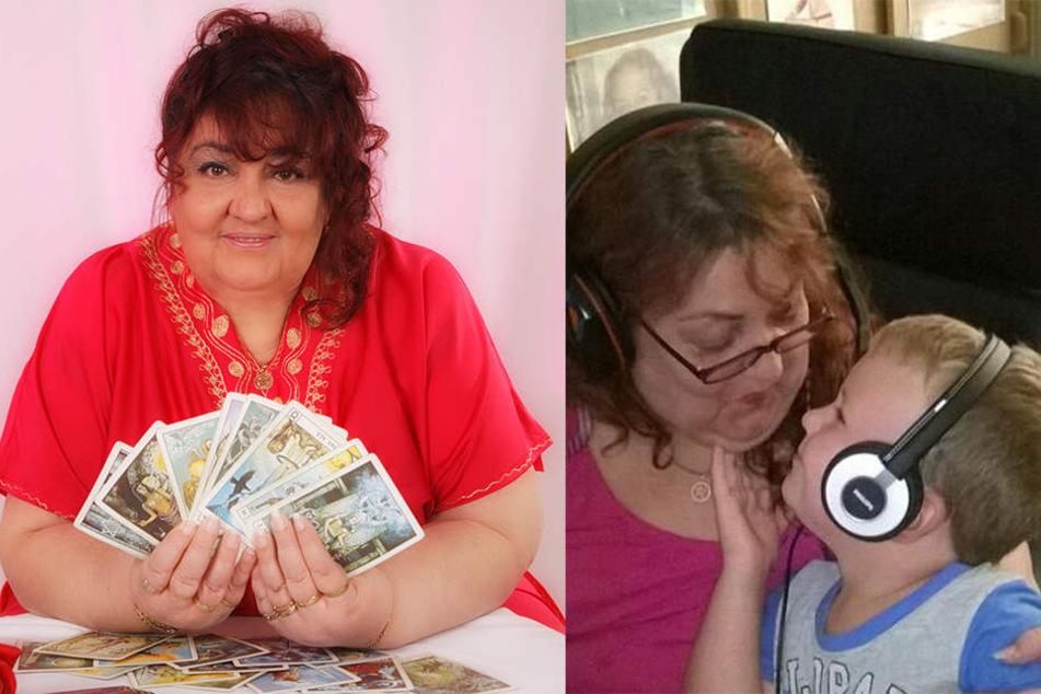 Links: Birgit Vildebrand mit ihren Tarotkarten. Rechts: Birgit und ihr Enkel John im Tonstudio.