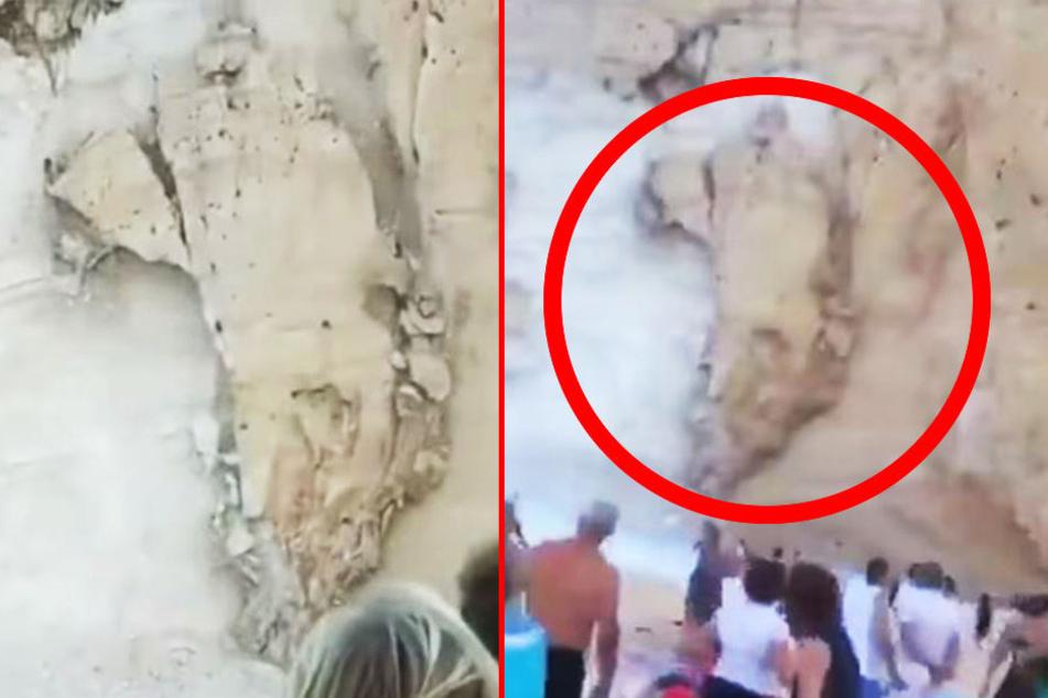 Horror-Szenario am Strand: Fels stürzt in Bucht und verursacht Flutwelle!