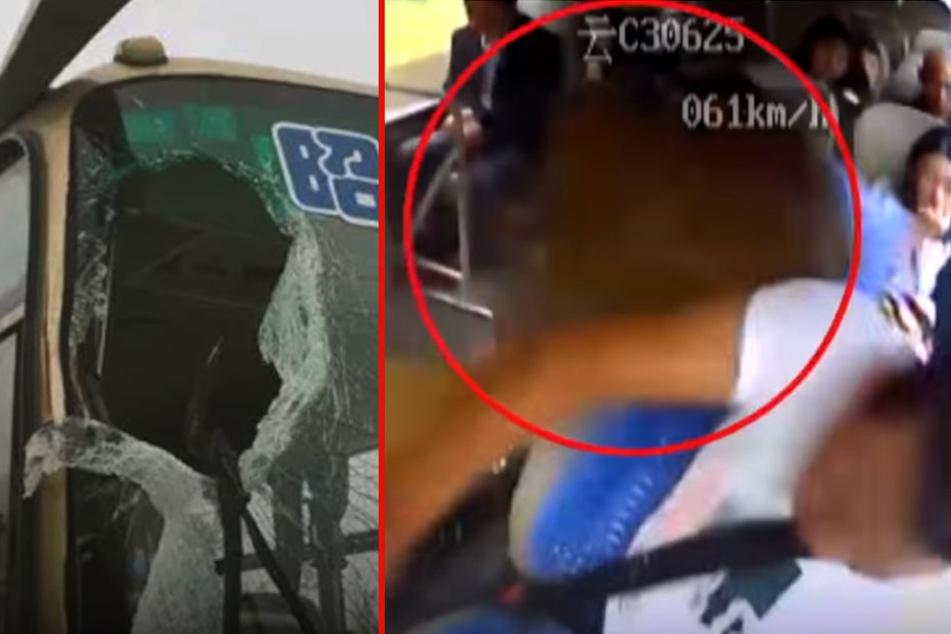 Felsbrocken kracht durch Busfenster und trifft Fahrer: Seine Reaktion rettet alle