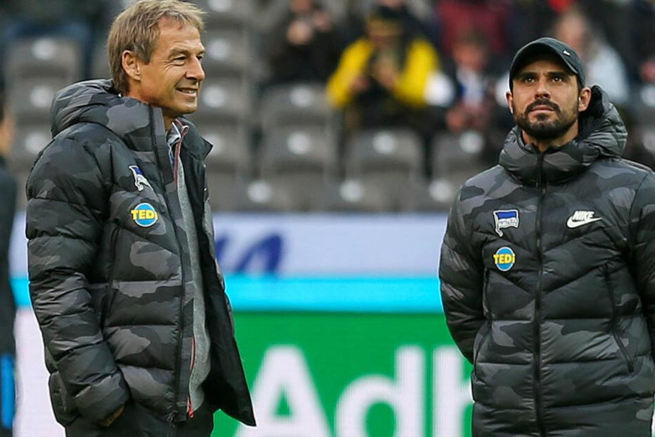 Jürgen Klinsmann und Alexander Nouri konnten am Samstag den ersten Sieg als Trainer und Co-Trainer von Hertha BSC bejubeln.