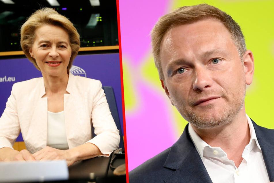 FDP-Chef Christian Lindner (r.) stellt Eignung Ursula von der Leyens (l.) in Frage.