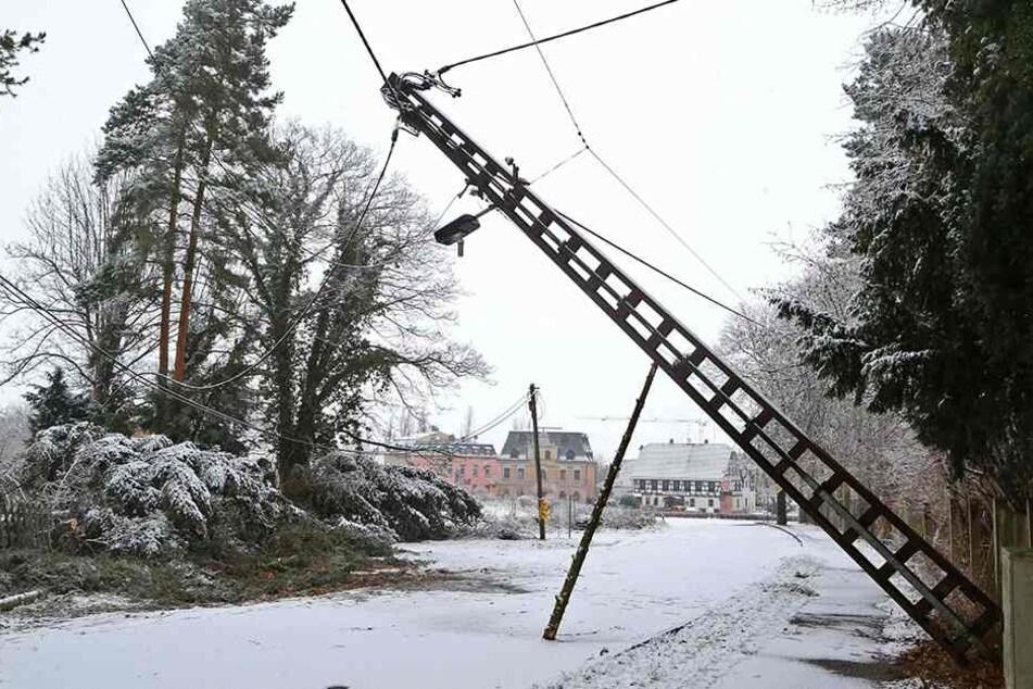 An der Zwickauer Staatsstraße in Meerane traf es einen Strommast.