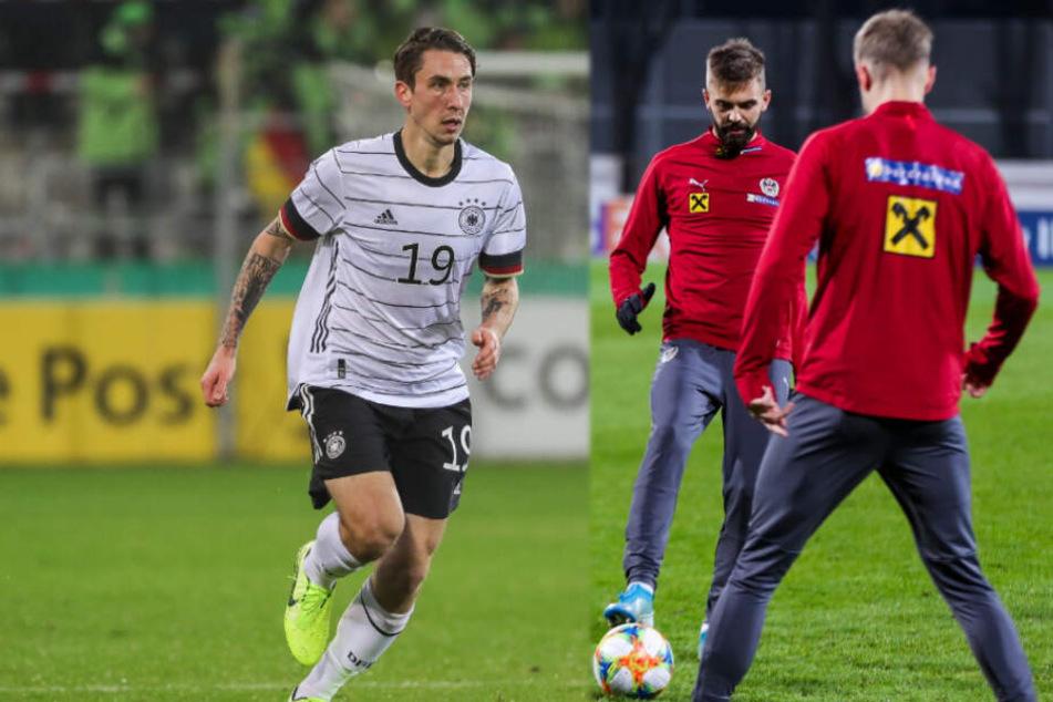 Adrian Fein (links) spielte für die deutsche U21 45 Minuten, Lukas Hinterseer (rechts am Ball) absolvierte in zwei Partien 21 Minuten.