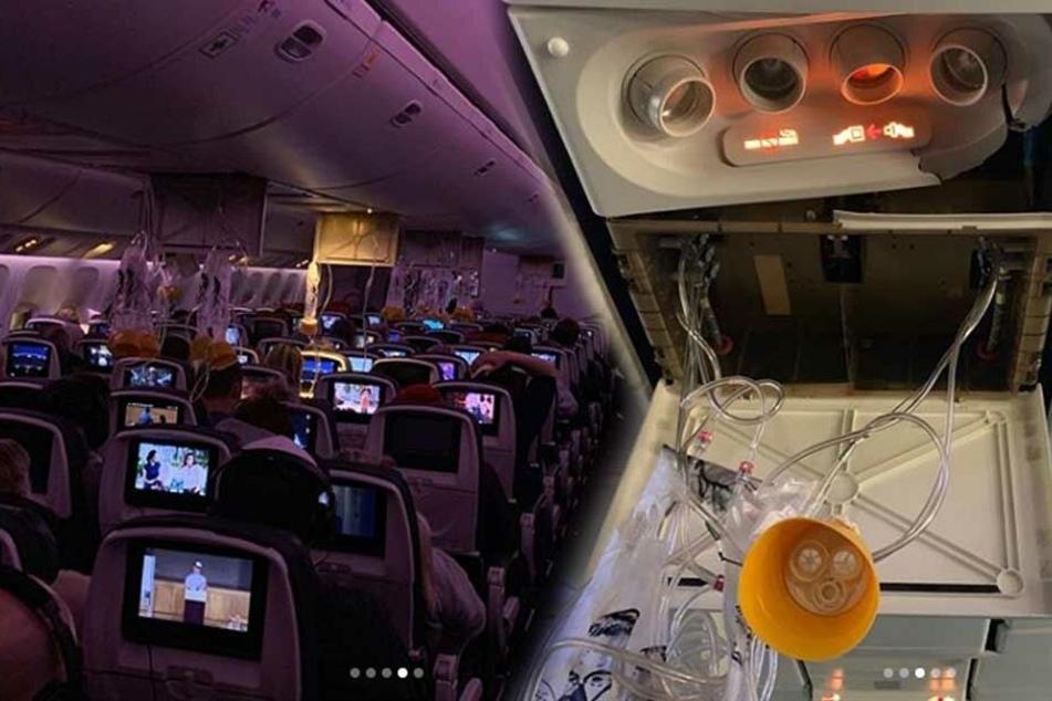 Ein Passagier postete diese Fotos. Er verletzte sich stark, musste nach den Turbulenzen eine Halskrause tragen.