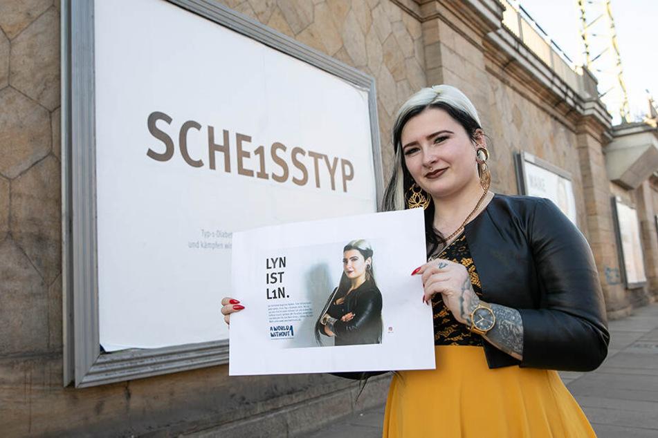 """""""Sche1sstyp"""": eine Kampagne zur Aufklärung über Typ-1-Diabetes. Tattoo-Model Lyn (27) beteiligt sich mit einem eigenen Motiv am Neustädter Bahnhof."""