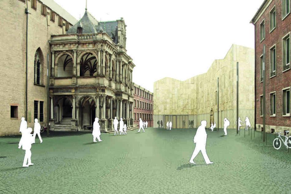 Eine Simulation zeigt den künftigen Vorplatz am Kölner Rathaus, der momentan eine Baustelle ist.