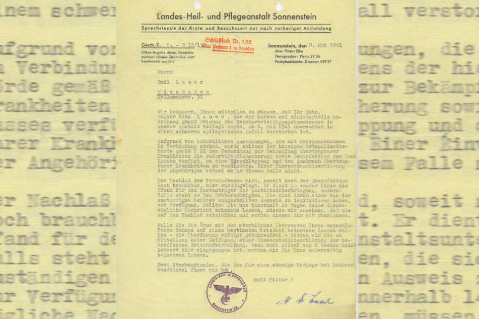 """Mit solchen """"Trostschreiben"""" versuchte die NS-Bürokratie, Angehörige über die wahren Todesursachen ihrer Lieben zu täuschen."""