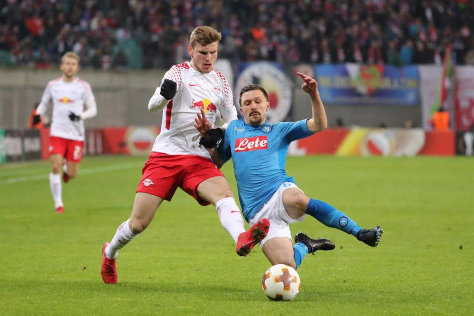 Gegen den SSC Neapel konnte sich RB Leipzig nur knapp aufgrund der Auswärtstorregel eine Runde weiter kämpfen.