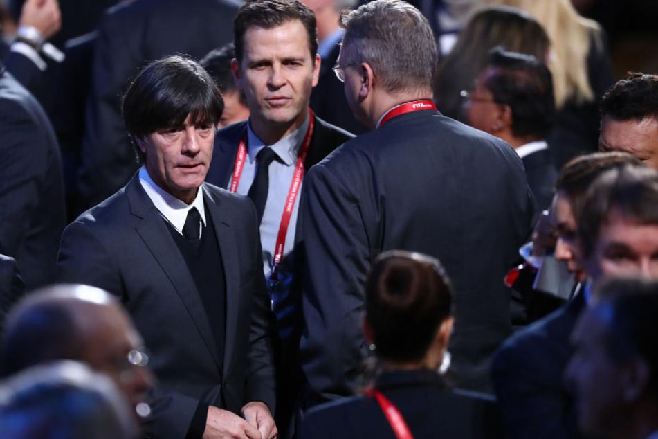 Bundestrainer Joachim Löw, Teammanager Oliver Bierhoff und DFB-Präsident Reinhard Grindel nahmen an der Auslosung im Moskauer Kreml teil.