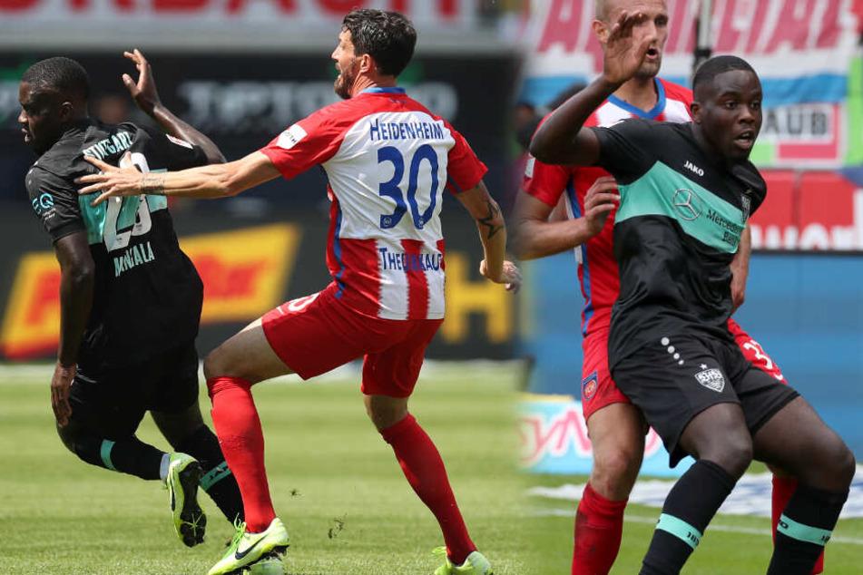 Der belgische VfB-Mittelfeldspieler Orel Mangala (dunkles Trikot, Nummer 23) durfte am vergangenen Sonntag gegen den 1. FC Heidenheim von Beginn an ran. (Fotomontage)