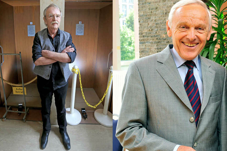 Stadtrat Dieter Füsslein 78, FDP, F.l.) hat jahrelang für die Sanierung gekämpft und auch Ex-OB Peter Seifert (77, SPD) setzte sich für den Paternoster ein.