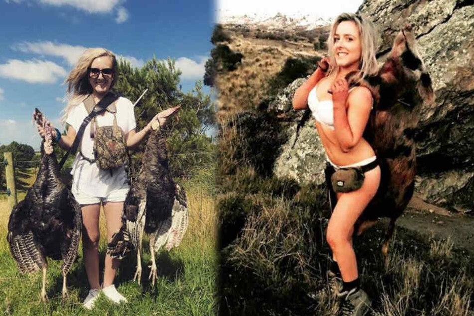 Lucy Jaine (29) posiert stolz mit der erlegten tierischen Beute.
