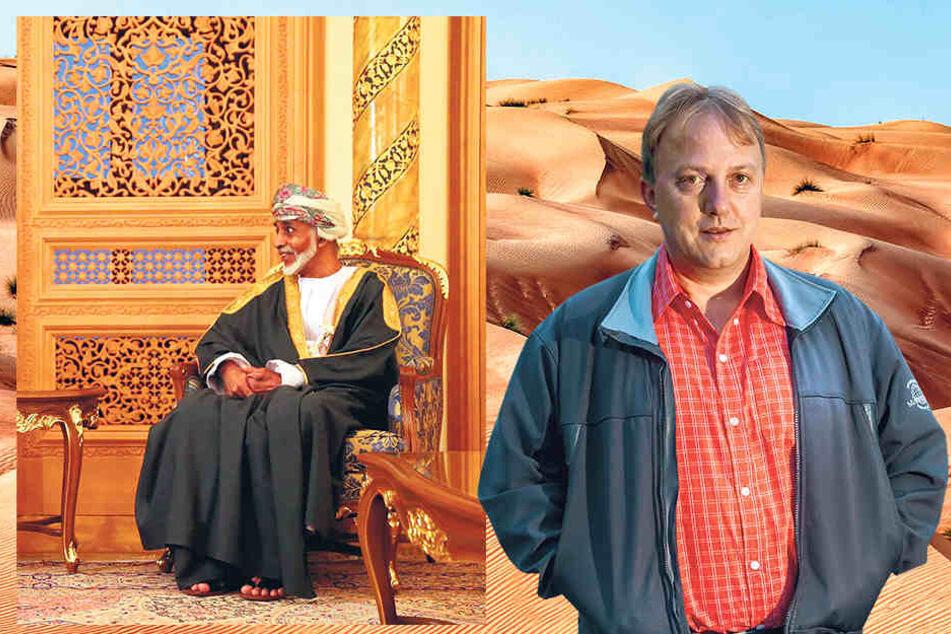 Der Chemnitzer Forscher Dominique Görlitz (50, re.) sitzt im Wüstenstaat Oman fest. Die Behörden verbieten seine Ausreise. Sultan Qabus Ibn Said (76) verbietet Dominique Görlitz die Ausreise. Grund sei ein Auslieferungsgesuch aus Ägypten.