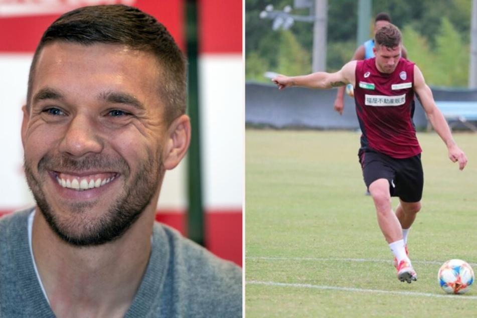 Nach langer Pause: Lukas Podolski endlich wieder am Ball