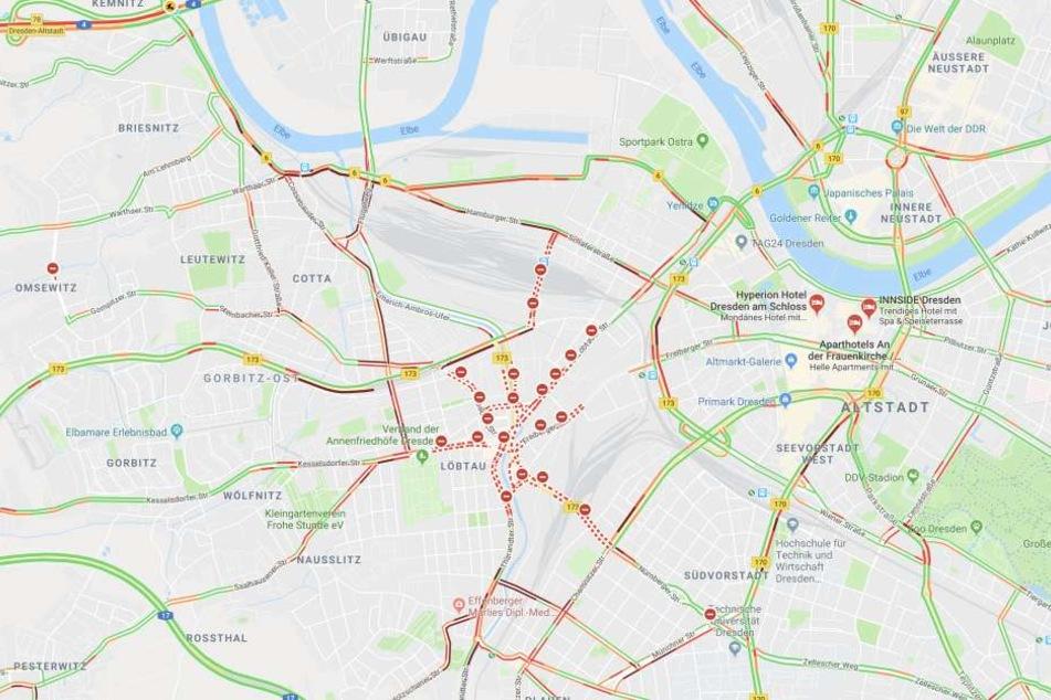 Der Verkehr in Dresden ist am Mittwoch eine einzige Katastrophe.