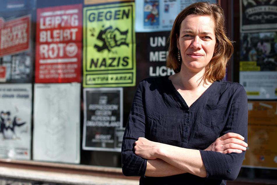 Juliane Nagel, Stadträtin für die Linke, wettert gegen die Flüchtlingsmaßnahmen.