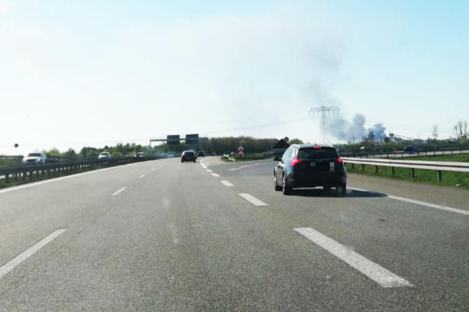 Auch von der A14 aus ist der Rauch zu sehen.