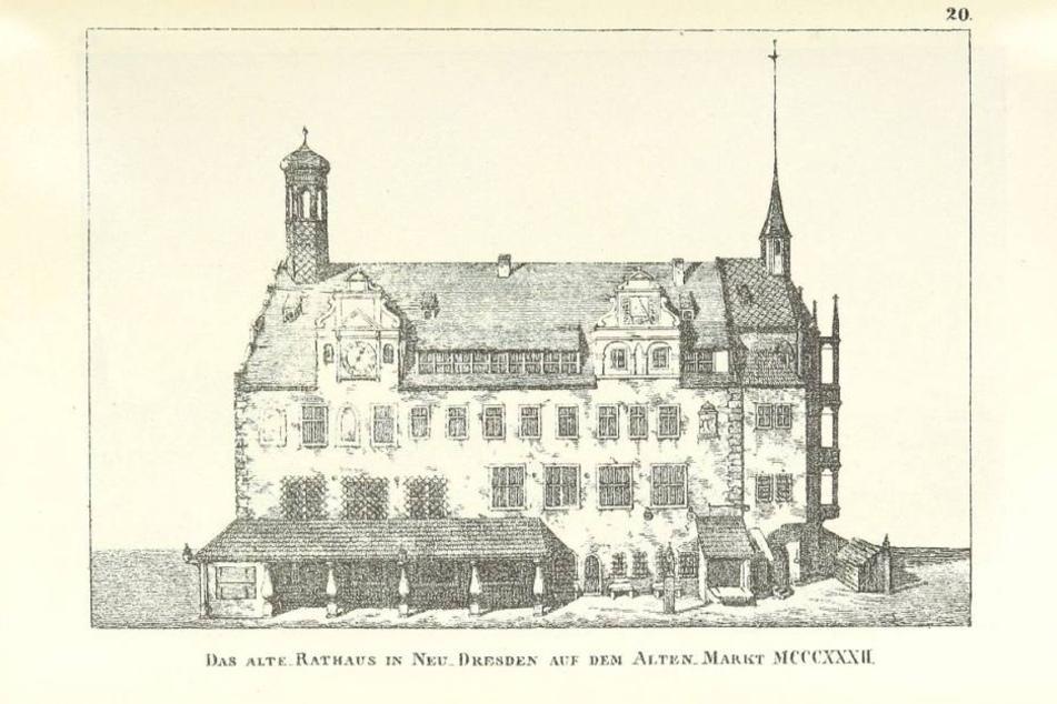 Dresdens erstes Rathaus auf dem Altmarkt - August der Starke ließ es 1707  abreißen.