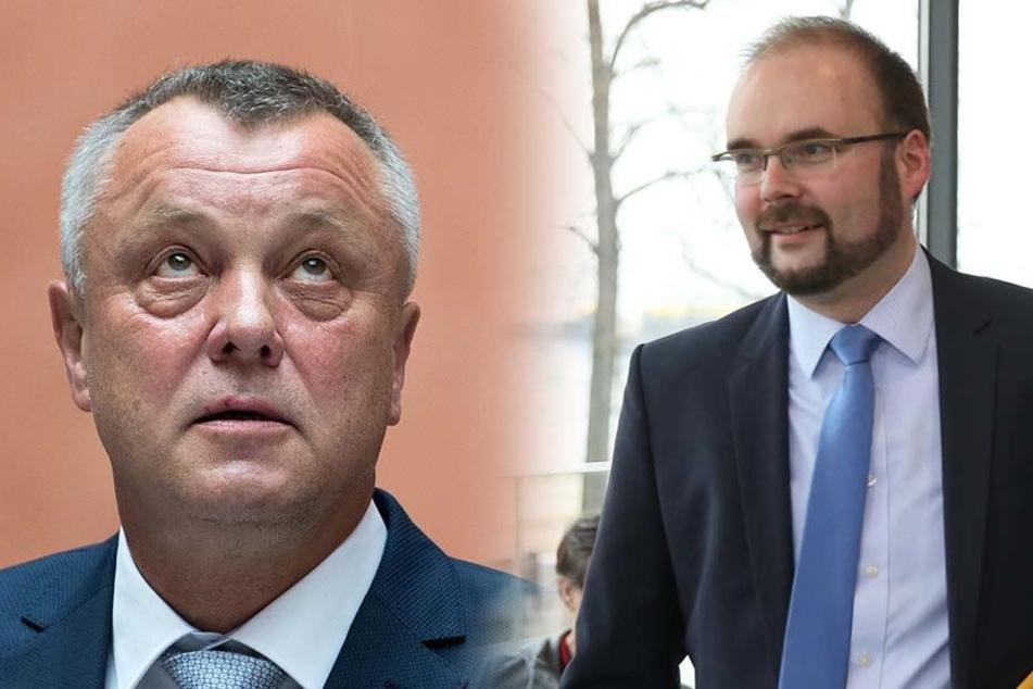 Mega-Überraschung: Frank Haubitz (59, parteilos, l.) ist schon wieder weg. Sein Nachfolger ist Christian Piwarz (42, CDU).