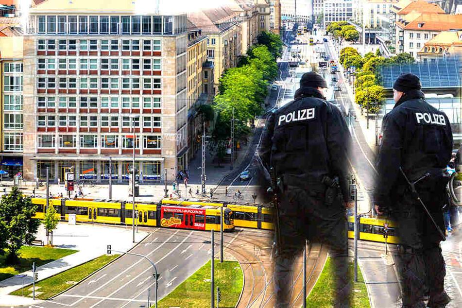 Am Pirnaischen Platz in Dresden belästigte ein 29 Jahre alter Mann mehrere Passanten und wurde auch vor einem Polizisten auffällig.