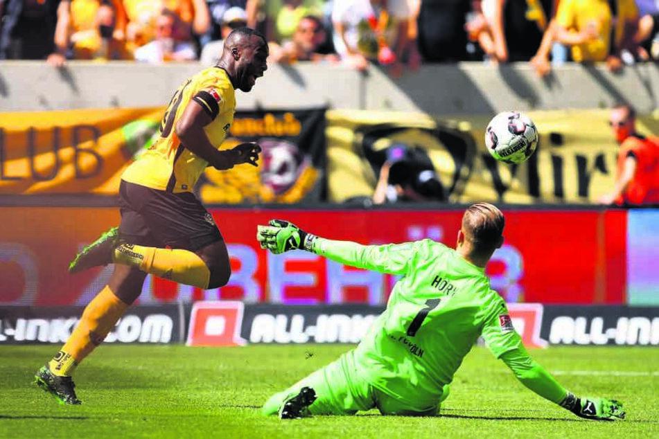 Mit dem frühen 1:0 leitete Erich Berko (l.) den schwarz-gelben Sieg ein. Köln-Keeper Timo Horn konnte den Ball nicht mehr entscheidend abwehren.