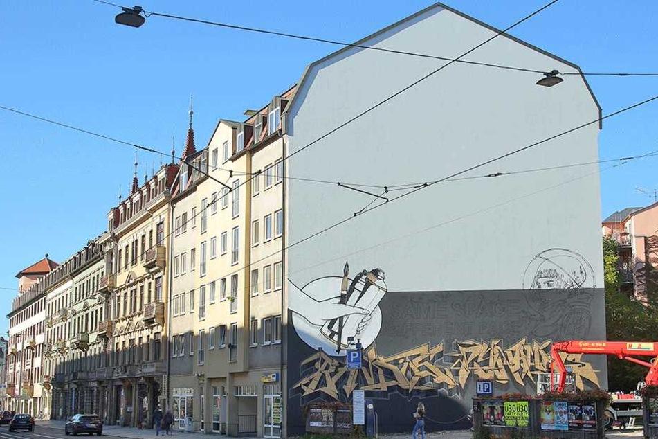 So sieht die neue Fassade auf der Bautzner Straße aus - aber nur für vier  Wochen.