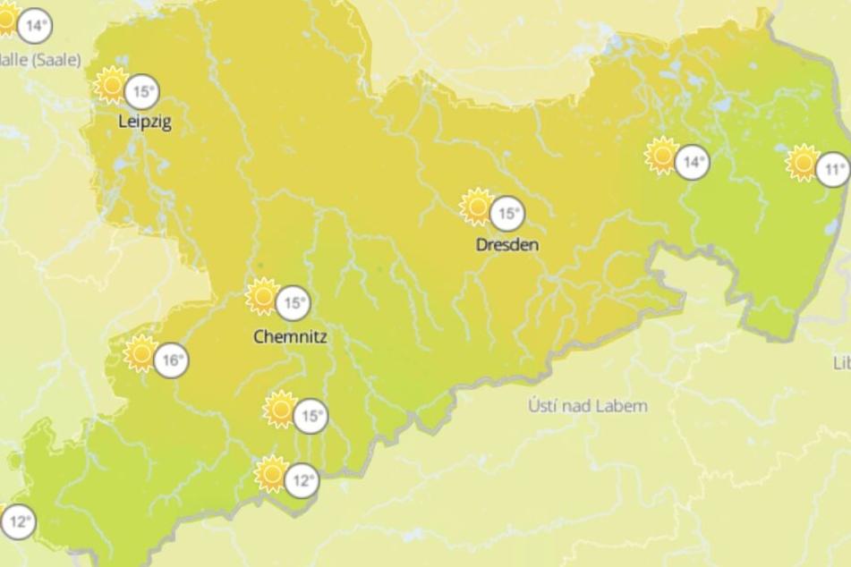Bis zu 16 Grad werden am Samstag in Sachsen erwartet.