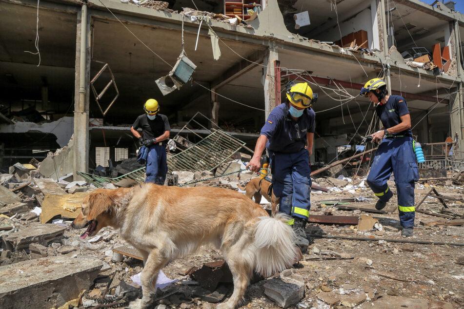 Deutsche Zivilschutz-Mitarbeiter arbeiten inmitten riesiger Zerstörungen im Hafen von Beirut. Nach der schweren Detonation wird weiterhin nach Opfern und Überlebenden gesucht.