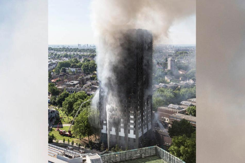 Der Grenfell Tower stand fast vollständig in Flammen.