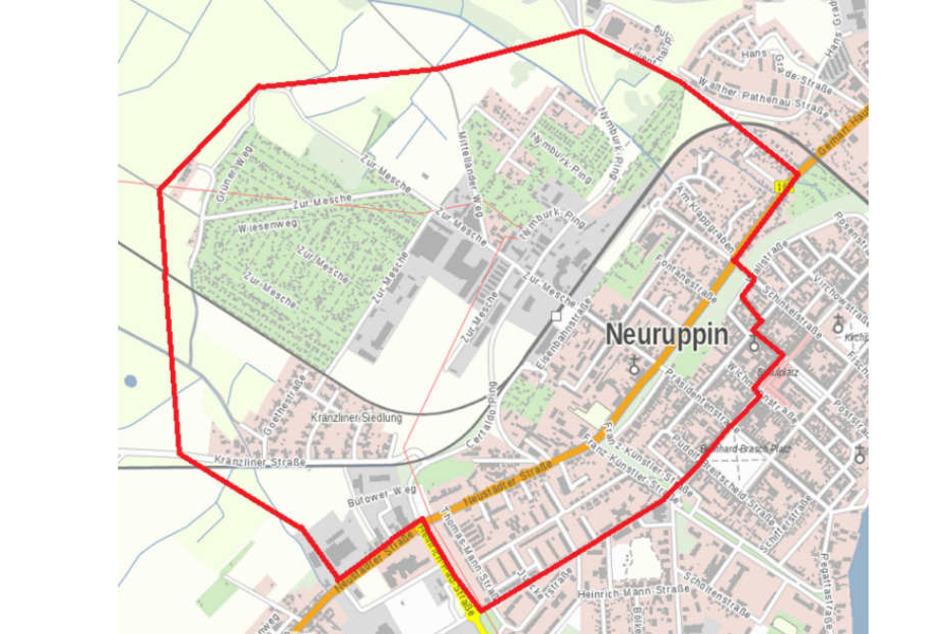 Für die Entschärfung einer Weltkriegsbombe am Freitag soll dieser Bereich in Neuruppin evakuiert werden.